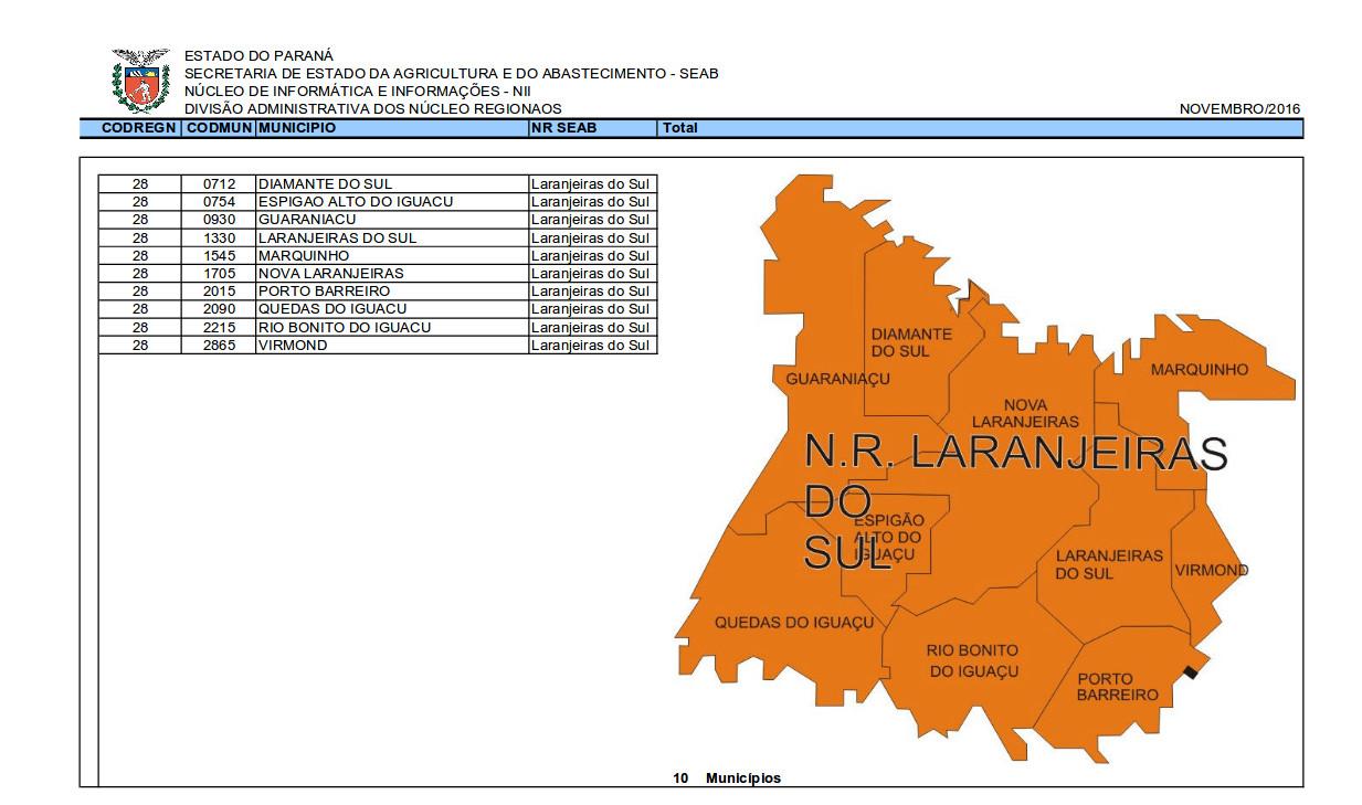 O Consea Paraná divide o estado em 23 regiões dispostas no seguinte documento: https://goo.gl/IwS21Z