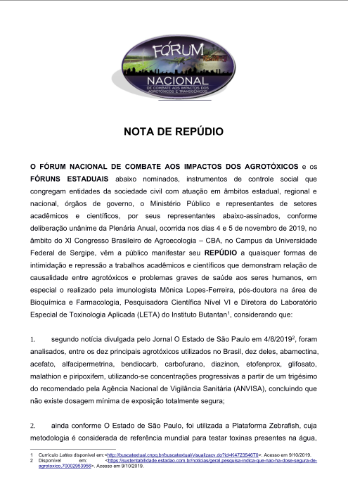 nota repudio forum nacional agrotoxicos