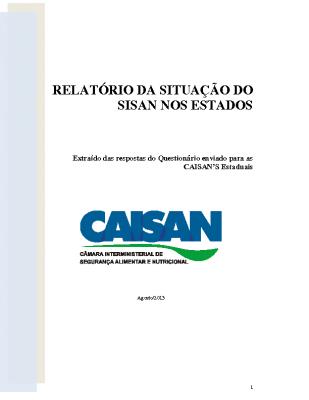 16.1.SISAN nos Estados – CAISAN, 2013