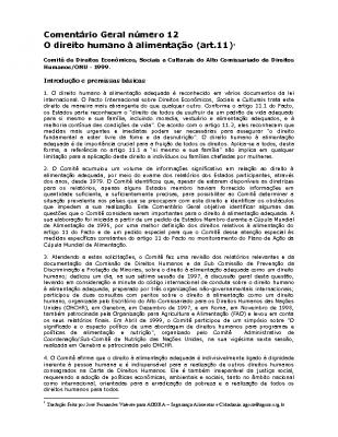 Material Complementar – Direito humano à Alimentação-Segurança-alimentar