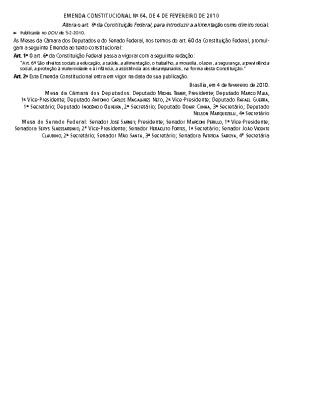 emenda constitucional 64 – 04 fevereiro 2010